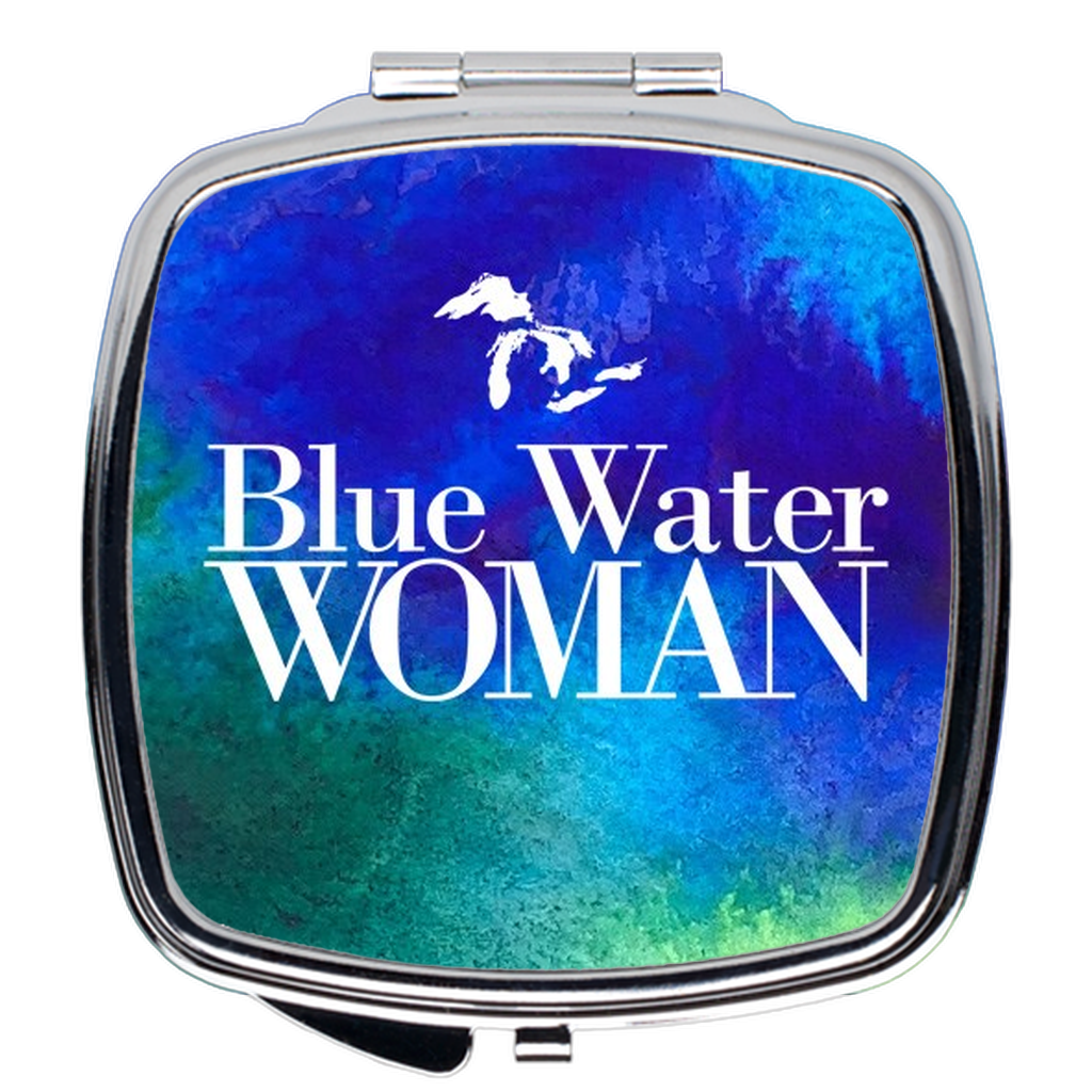 Blue Water Woman Watercolor Compact Mirror