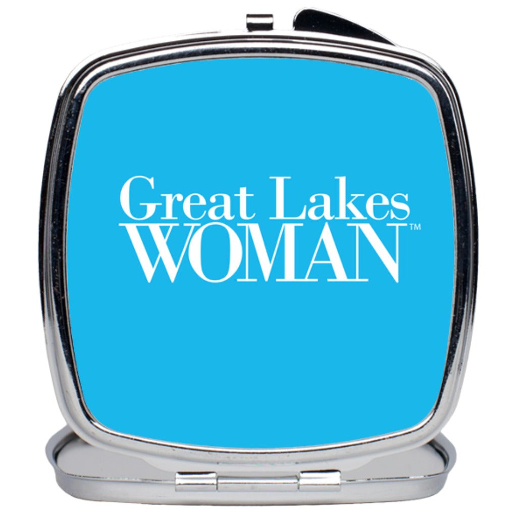 Great Lakes Woman Compact Mirror--Blue