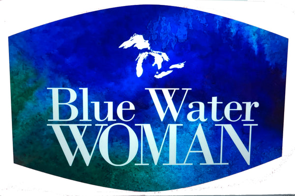 Blue Water Woman Face Mask -- Blue Watercolor
