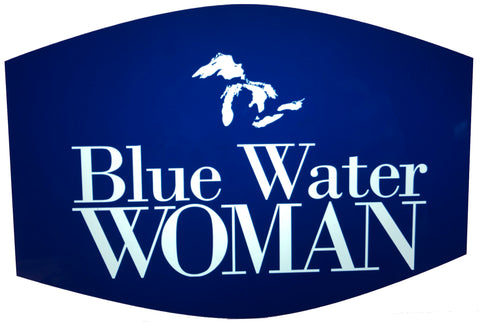 Blue Water Woman Face Mask -- Navy