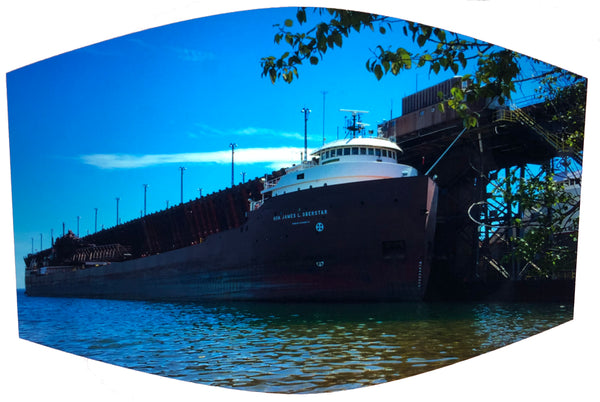 Freighter at Marquette Ore Dock Face Mask