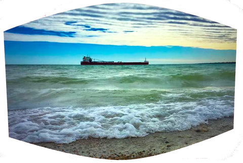 Great Lakes Freighter with Clouds and Water Face Mask