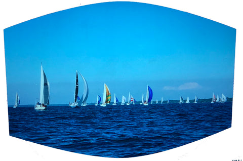 Sailboats Racing on the Horizon Face Mask