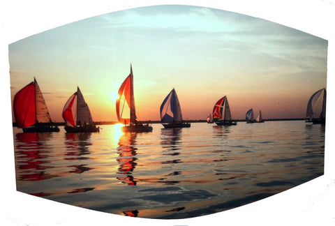 Sailboats Racing at Sunset on Lake Huron Face Mask