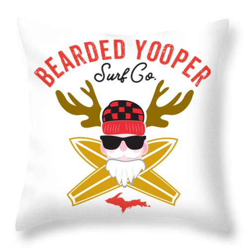 Yooper Throw Pillow - Upper Peninsula Throw Pillow - Bearded Yooper Surf Co. - Throw Pillow