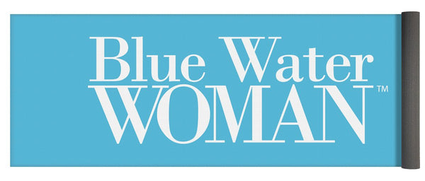 Blue Water Woman White Logo - Yoga Mat