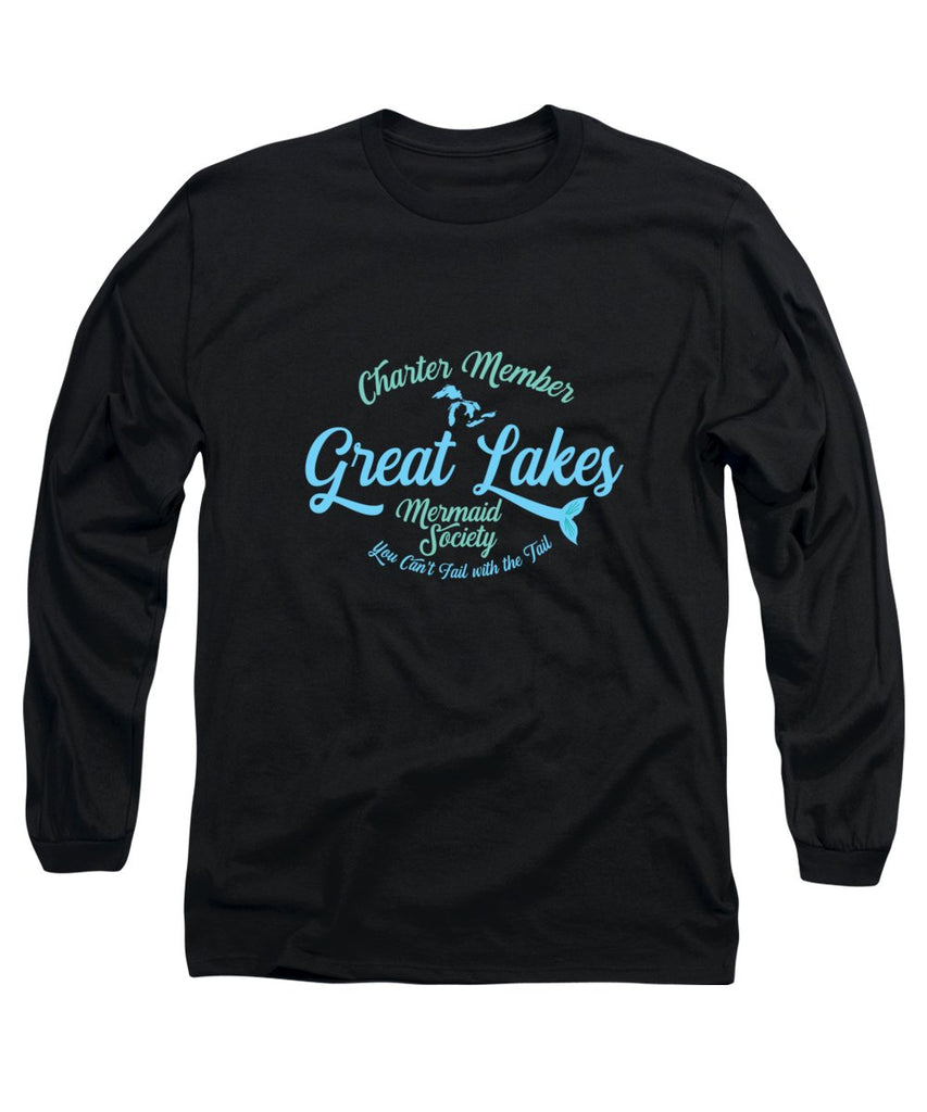 Great Lakes T Shirt - Great Lakes Mermaid T Shirt - Charter Member Great Lakes Mermaid Society - Long Sleeve T-Shirt