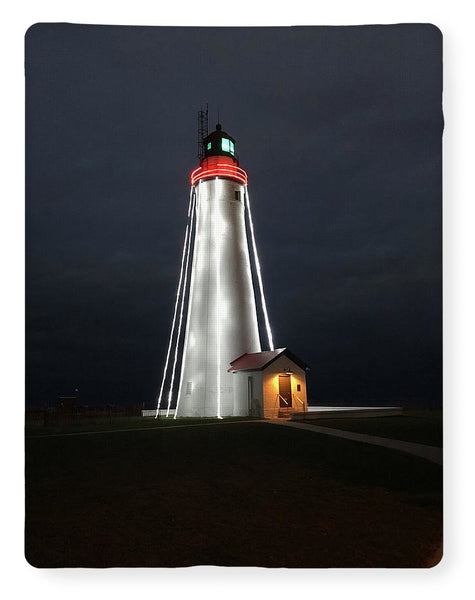 Fort Gratiot Lighthouse At Christmas - Blanket