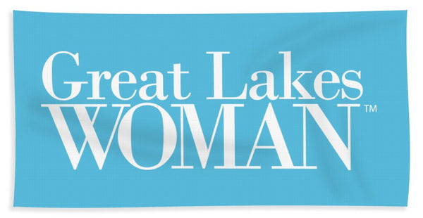 Great Lakes Woman White Logo - Beach Towel