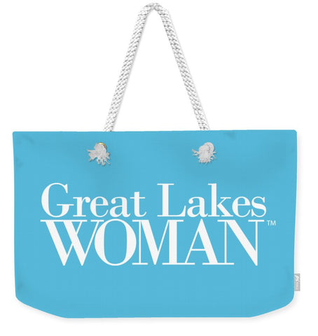 Great Lakes Woman White Logo - Weekender Tote Bag
