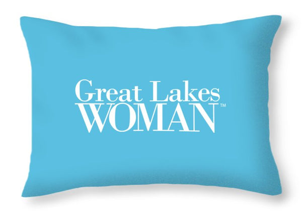 Great Lakes Woman White Logo - Throw Pillow