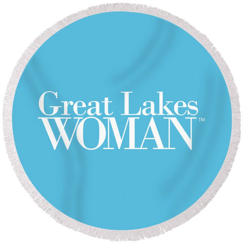 Great Lakes Woman White Logo - Round Beach Towel