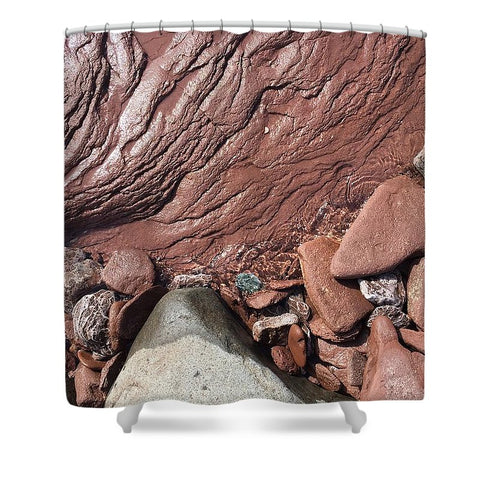 Lake Superior Beach Rock - Shower Curtain