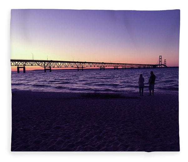 Mackinac Bridge At Sunset - Blanket