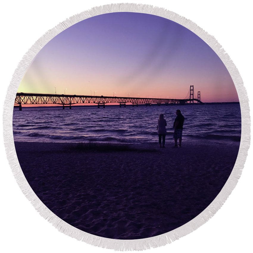 Mackinac Bridge Round Beach Towel