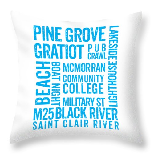 Port Huron Michigan Places - Throw Pillow
