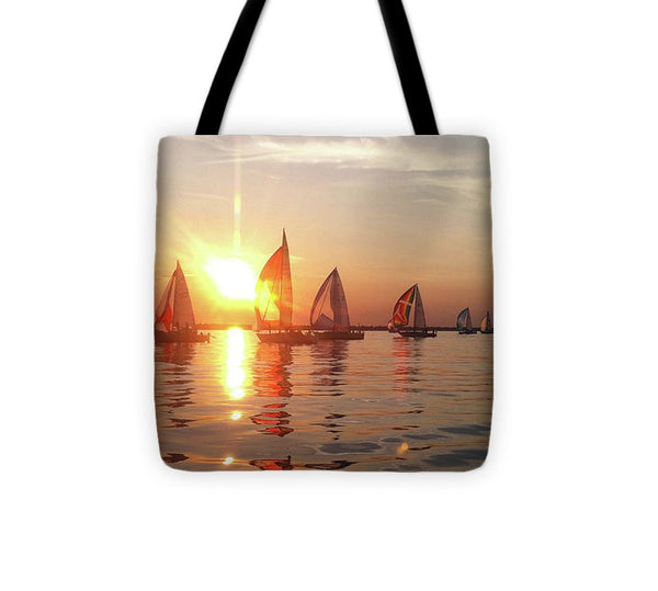 Sailboat Racing On Lake Huron - Tote Bag