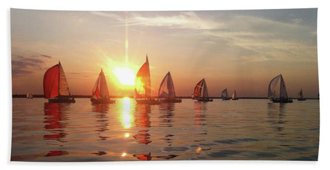 Sailboat Racing On Lake Huron - Beach Towel