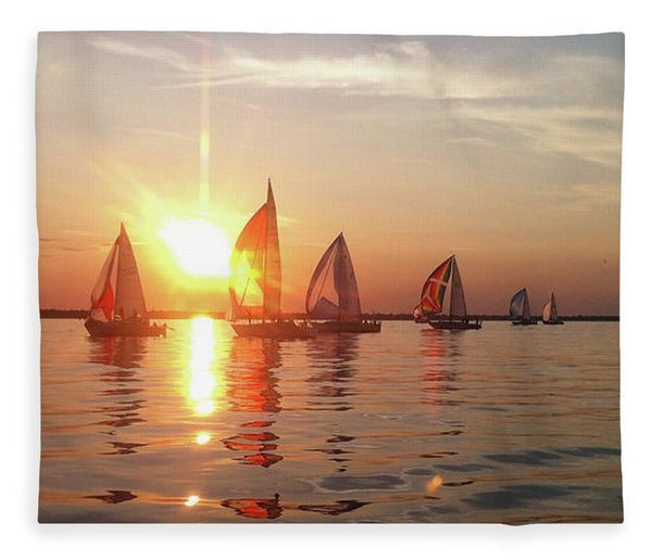 Sailboat Racing On Lake Huron - Blanket
