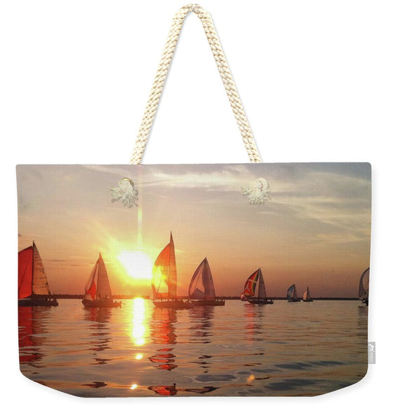 Sailboat Racing On Lake Huron - Weekender Tote Bag