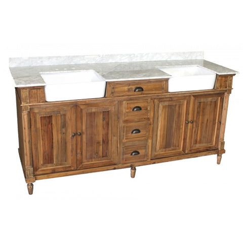 "74"" FARM STYLE DOUBLE VANITY - THIS ITEM IS CURRENTLY NOT AVAILABLE TO BE SHIPPED, IN STORE PICK UP OR LOCAL DELIVERY ONLY"