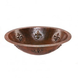 Oval Fleur De Lis Under Counter Hammered Copper Sink (NO SHIPPING)