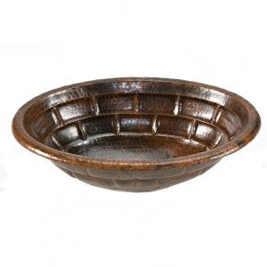 Oval Stacked Stone Self Rimming Hammered Copper Sink (NO SHIPPING)