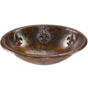 Oval Fleur De Lis Self Rimming Hammered Copper Sink (NO SHIPPING)