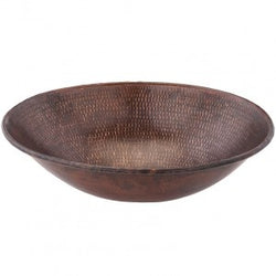 Oval Wired Rimmed Vessel Hammered Copper Sink (NO SHIPPING)