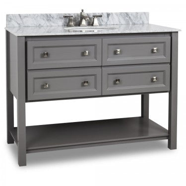 "Grey 48"" Vanity w/ White Carerra Marble Top (NO SHIPPING. CALL FOR PICK-UP & DELIVERY OPTIONS)"