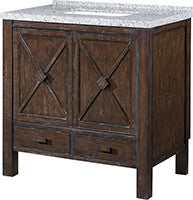 "Rustic Wood 36"" Vanity w/ Black & White Granite Top (NO SHIPPING. CALL FOR PICK-UP & DELIVERY OPTIONS)"