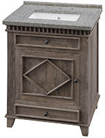 "Rustic Wood 26"" Vanity w/ Black & White Mottled Granite Top (NO SHIPPING. CALL FOR PICK-UP & DELIVERY OPTIONS)"