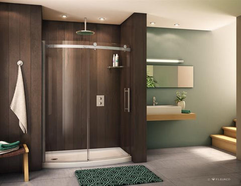 Novara Bowfront Shower Doors Satin Nickel (NO SHIPPING)