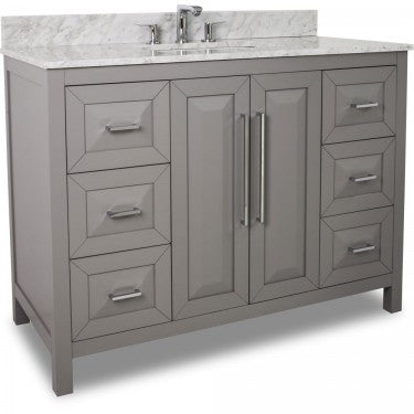 "Grey 48"" Vanity w/ Carerra White Marble Top (NO SHIPPING. CALL FOR PICK-UP & DELIVERY OPTIONS)"