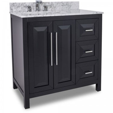 "Black 36"" Vanity w/ Carerra White Marble Top (NO SHIPPING. CALL FOR PICK-UP & DELIVERY OPTIONS)"