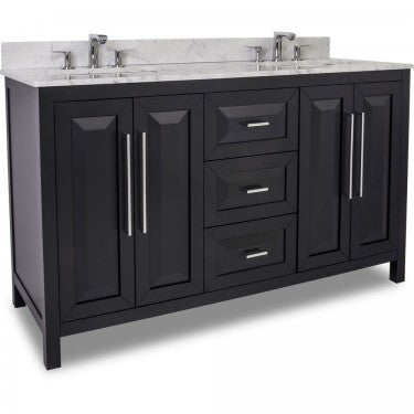 "Black 60"" Vanity w/ Carerra White Marble Top (NO SHIPPING. CALL FOR PICK-UP & DELIVERY OPTIONS)"