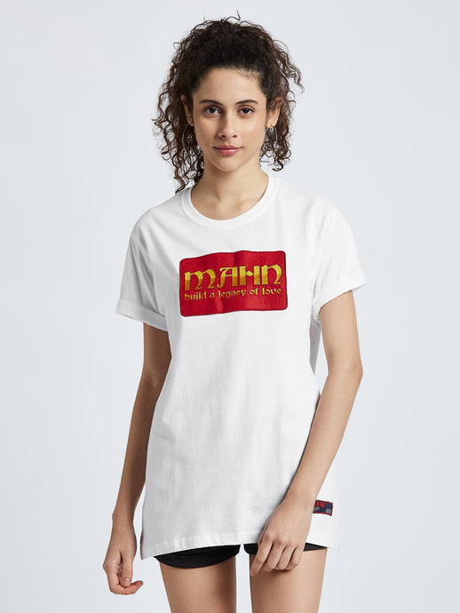Mahnstudios white Medallion embroidered t-shirt selling online in India | Streetwear by MAHN