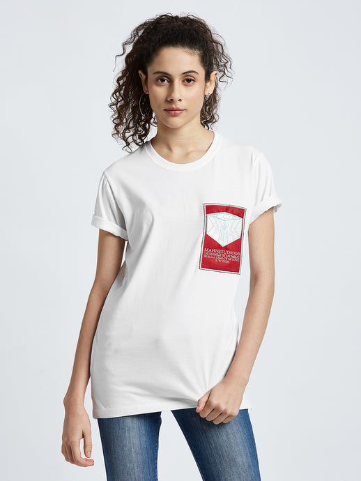 Mahnstudios Cube Motif embroidered t-shirt selling online in India | Streetwear by MAHN