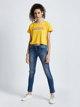 Women's yellow crop t-shirt by Mahnstudios India | Online Streetwear in India