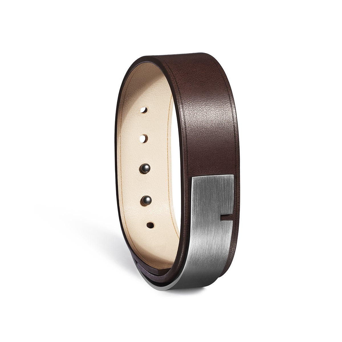 U-Turn 19 - Chocolate Leather Bracelet and Steel Gun clasp