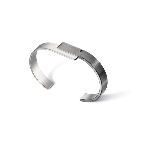 U-DOUBLE 13 - Rhodium and Ruthenium Silver Bangle Bracelet