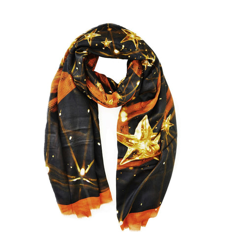 Constelation Scarf 114 gold and red