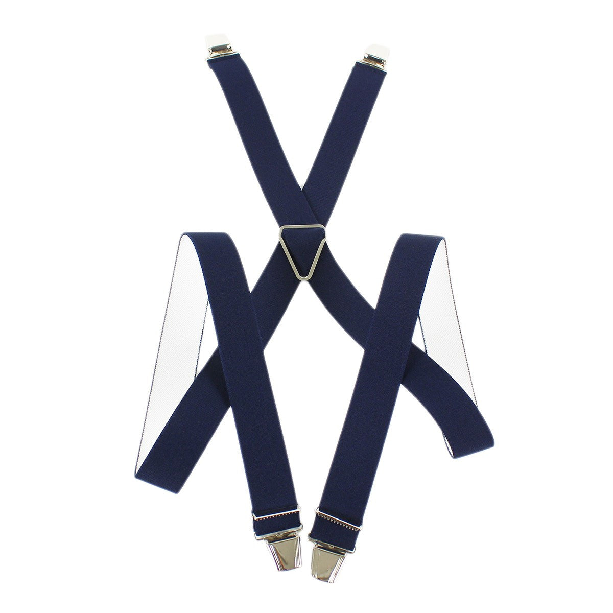 Elastic Suspenders X shape Clip end made in France navy