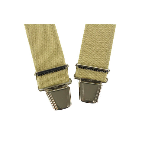 Elastic Suspenders X shape Clip end made in France Beige