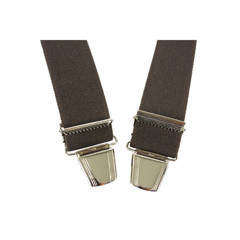 Elastic Suspenders X shape Clip end made in France Brown