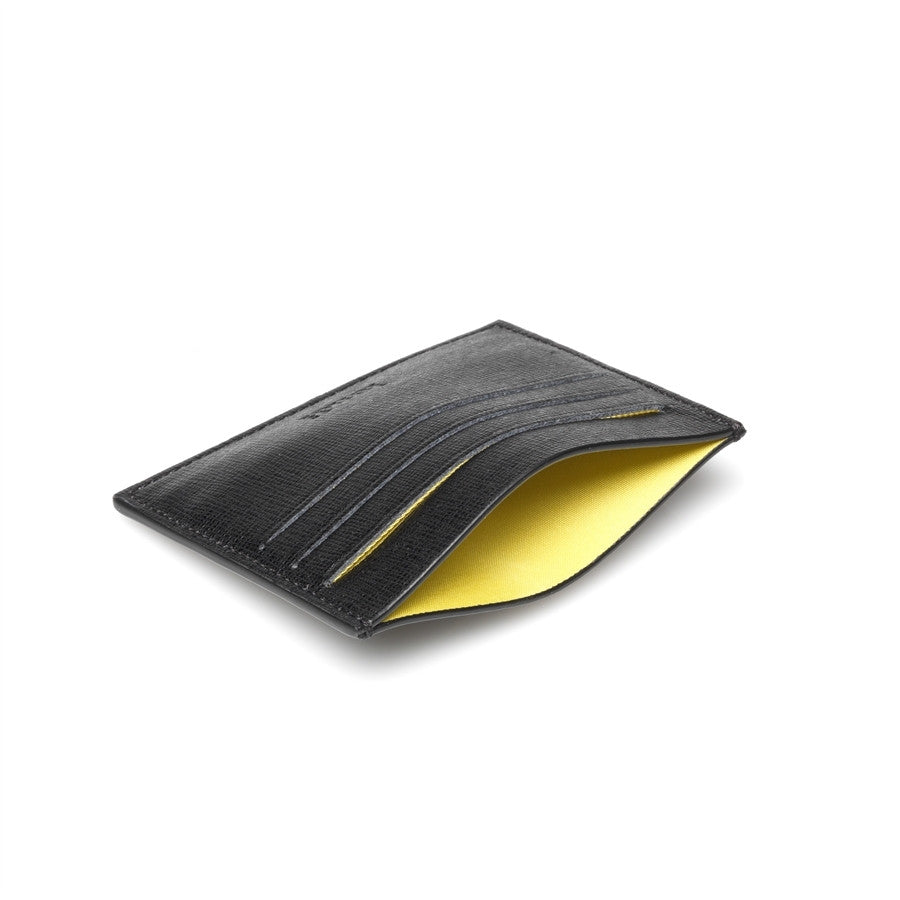 Men Credit Cards Holder Black Leather Yellow Inside MYRON