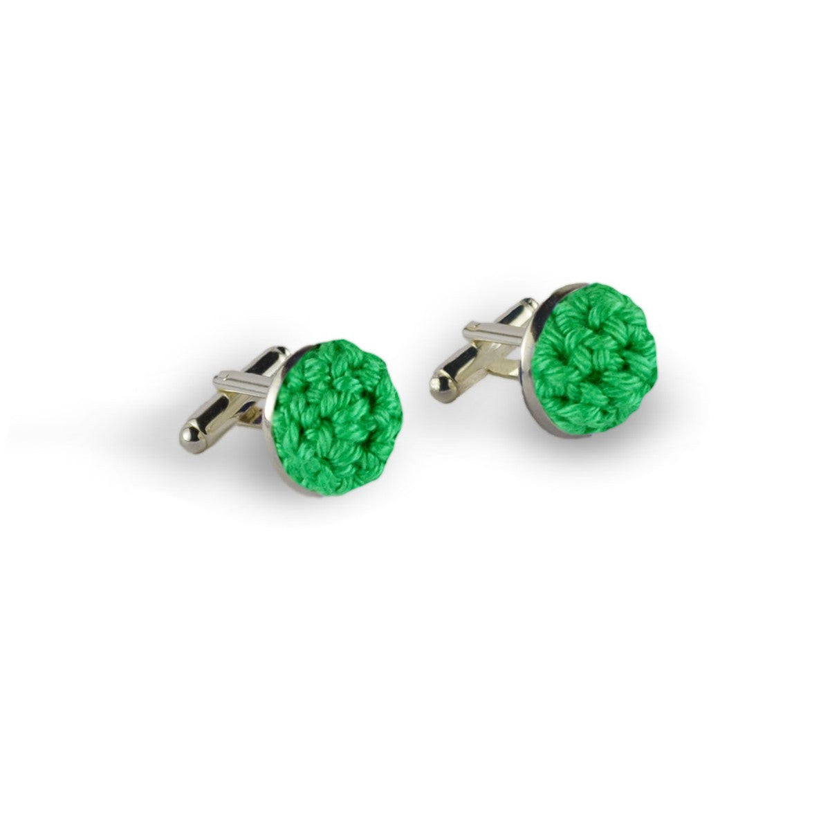 Green cufflinks crochet Spontane