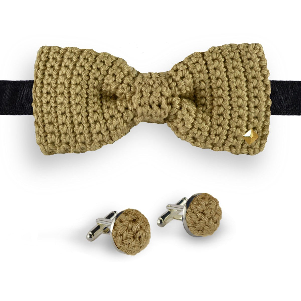 Beige bow tie - cufflinks crochet made in France Ivoire