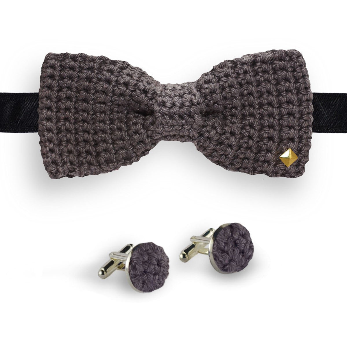 Grey bow tie - cufflinks crochet made in France Truffe