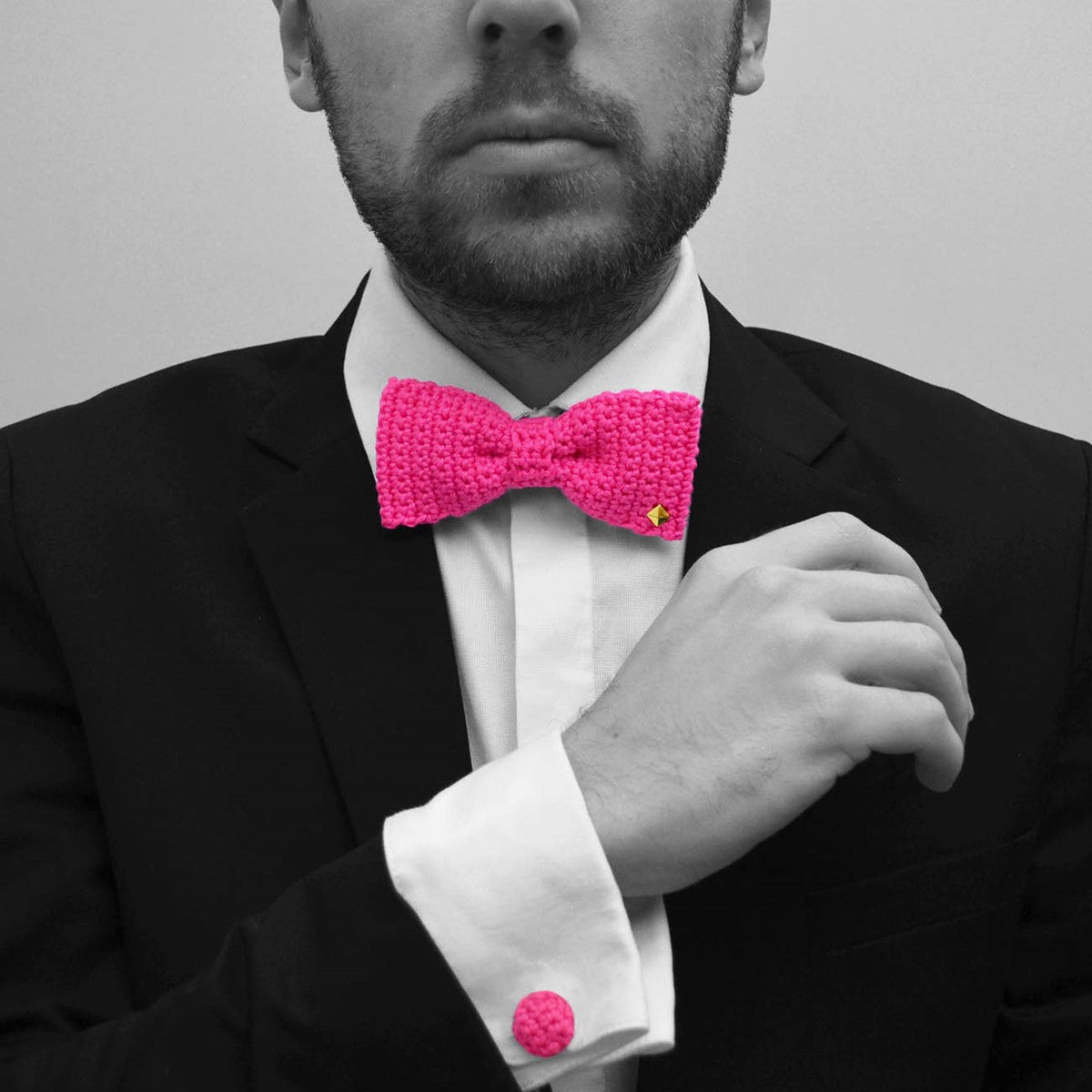Pink bow tie - cufflinks crochet made in France Romantique